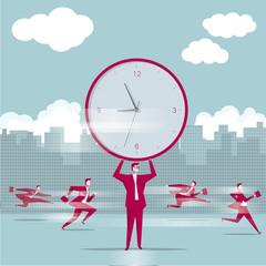 Businessman lift huge clock, team concept, businessman runs on the street.