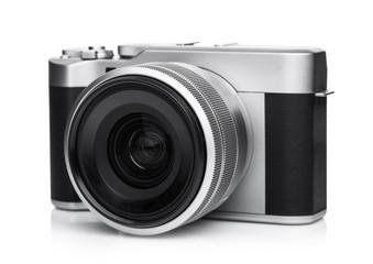 Digital DSLR photo camera with black leather grip