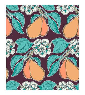 Pear tree garden seamless pattern