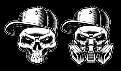 Black and white graffiti skulls