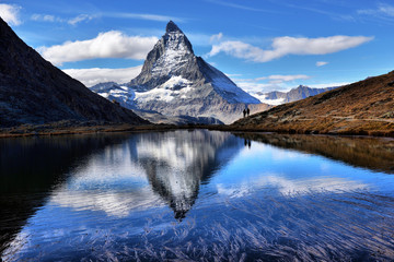 Mt Matterhorn reflected in Riffelsee Lake Zermatt Canton of Valais