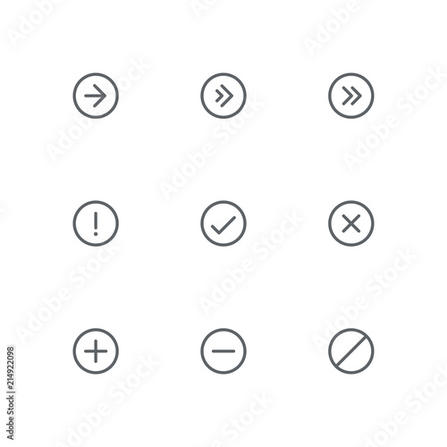 Basic outline icon set - arrows, exclamation, check mark