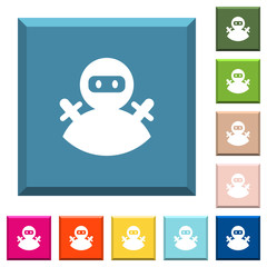 Ninja avatar white icons on edged square buttons