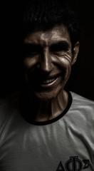 Psychopath smiling.