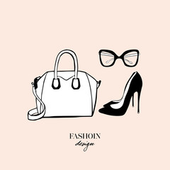 Women's accessories poster. Bag, black high heeled ladies shoes, glasses. Fashion design card on beige background. Drawn Doodle Fashion Accessory. Perfect for logo, poster, print. Vector Illustration