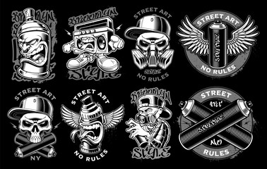 Set of black and white logos, badges, stickers of graffiti characters on dark background. Text is on the separate layers.