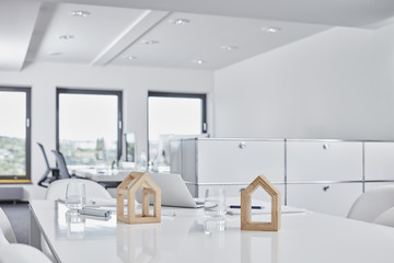 Wooden decorations in modern office