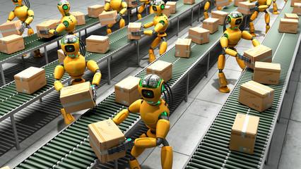 Modern concept of precise automated sorting in production or delivery robots shift boxes from the conveyor to the conveyor 3d render