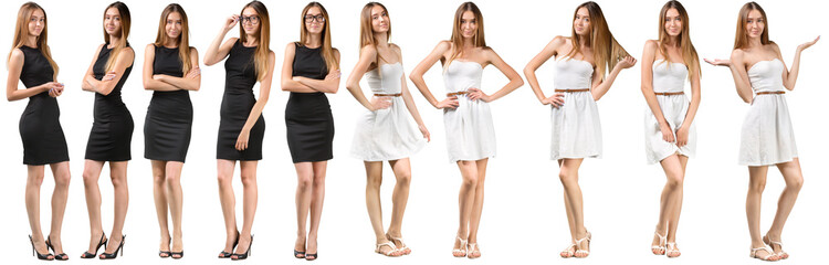 Collage of Group of beautiful young women isolated on white background