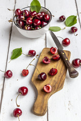 Sliced and whole cherries