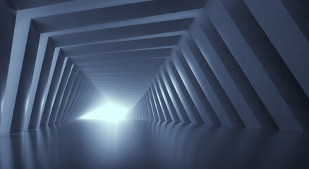 Light at the end of tunnel. 3d illustration