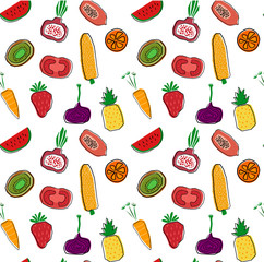 hand drawn colourful fruits and vegetables pattern seamless background