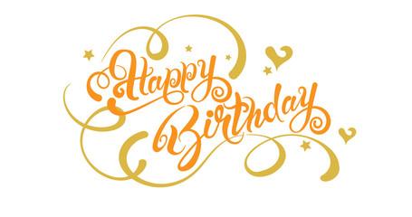 Happy Birthday, text, lettering, vector illustration