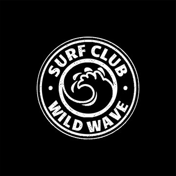 A set of surfing for printing. Wild wave logo, surf point sticker, elements of boards for school surfing.