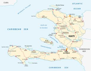Republic of Haiti road vector map