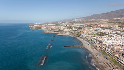 Aerial view of Tenerife island Canary Spain Atlantic ocean drone top view