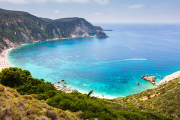 View to a large beach in Ionian sea
