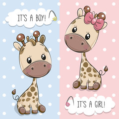Greeting card with Cute Giraffes