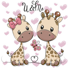 Two Cartoon Giraffes on a hearts background