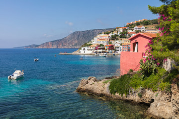 Blue bay of Ioanian sea island