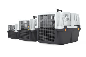 Row fo Pet Travel Plastic Cage Carrier Boxes. 3d Rendering