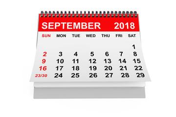 Calendar September 2018. 3d rendering