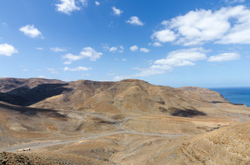 Typical landscape of Fuerteventura with barren volcanic mountains