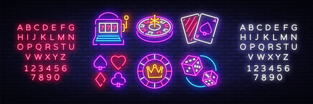 Casino neon collection vector icons. Casino Emblems and Labels, Bright Neon Sign, Slot Machine, Roulette, Poker, Dice Game. Vector illustration. Editing text neon sign