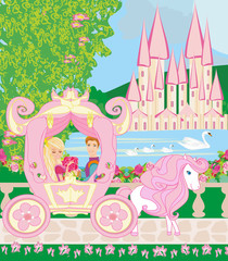 Princess with prince in the carriage