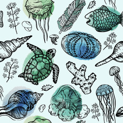 Seamless watercolor pattern with sketch of sea shells, turtle, corals and jellyfish. Hand Drawn background