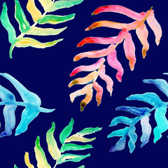 Summer tropical pattern, background with palm leaves.