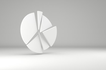 Circle diagram. Pie chart with copy space. 3d render.