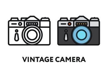 Vintage Antique Photo Film Camera. Photography Equipment Concept. Minimal Color Flat Line Outline Stroke Icon.