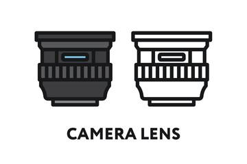 Camera Zoom Lens Optics. Photography Equipment Concept. Minimal Color Flat Line Outline Stroke Icon.