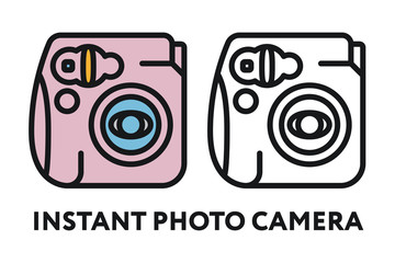 Vintage Instant Photo Film Camera. Photography Equipment Concept. Minimal Color Flat Line Outline Stroke Icon.