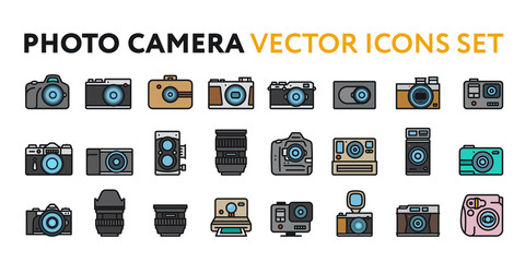 Photo Film Camera Models and Lens. Photography Equipment Concept. Minimal Color Flat Line Outline Stroke Icon Set.