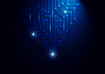 Blue circuit board with binary code, technology concept vector illustration