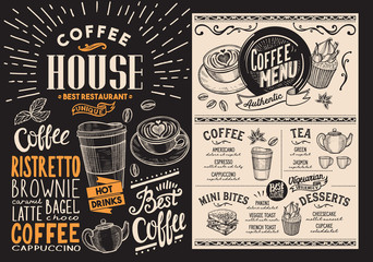 Coffee and beverage restaurant menu. Drink flyer for bar and cafe. Design template with vintage hand-drawn food illustrations.