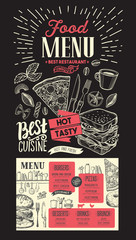 Food menu for restaurant. Vector template on chalkboard background. Design flyer with vintage hand-drawn illustrations.
