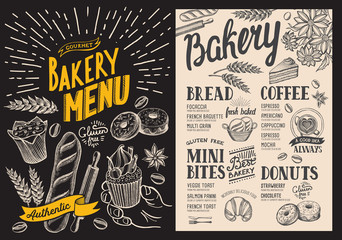 Bakery dessert menu for restaurant on chalkboard background. Design template with food hand-drawn graphic illustrations. Vector food flyer for bar and cafe.