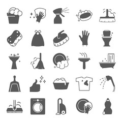 Cleaning simple icons set for web and mobile design