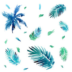 Seamless pattern with palm trees and tropical leaves. Watercolor illustration