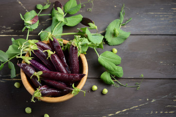 Fresh organic purple green peas in a wooden bowl on rustic wooden table.