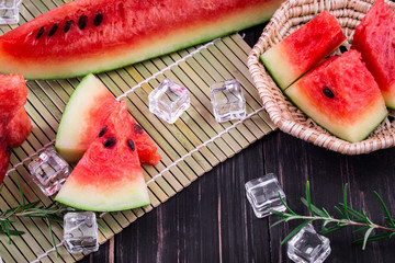 watermelon on wooden background