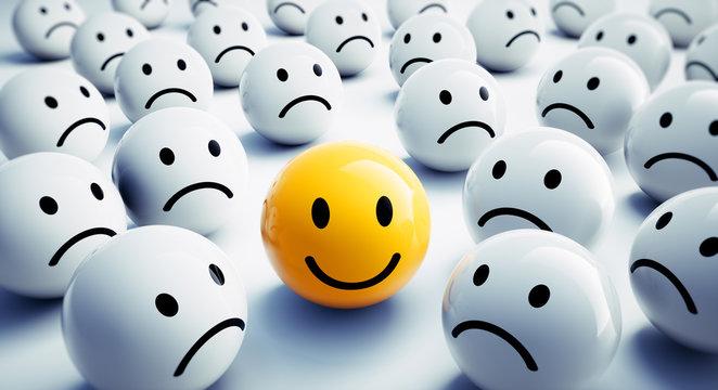 Gelber Smiley in trauriger Gruppe