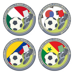Soccer Fan Logo vol.7. Vector illustration of a color logo for football fans of teams from Mexico, South Korea, Colombia and Senegal.