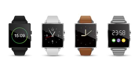 スマートウォッチ腕時計4色のベクターイラスト白バック