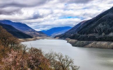 The Zhinvali Reservoir, Georgia, Caucasus.