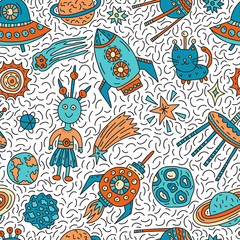 Seamless pattern with funny cartoon space elements