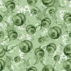 Vintage watercolor pattern - flowers, branch, peach, apricot, leaves. Vintage pattern, abstract splash of paint.A  floral pattern with fruits, twigs. green color, monochrome.